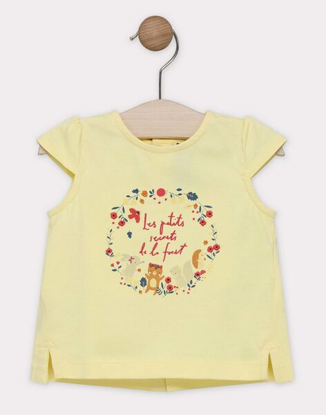 Baby girls' light-yellow T-shirt with printed design on front SAAVRIL / 19H1BF21TMCB115