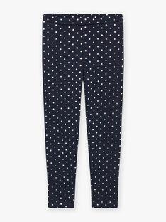 Girl's navy blue polka dot fleece legging BROLIETTE 4 / 21H4PFF4CTT070