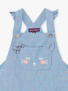 Baby girl denim dungarees with cat pocket BAKAREN / 21H1BFL1SALP269