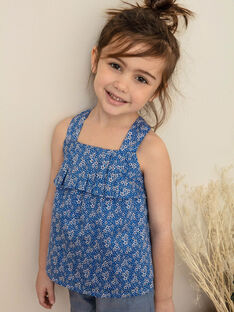 Lavender blue top with white floral pattern white child girl ZUBLIETTE / 21E2PFT1CHEC208