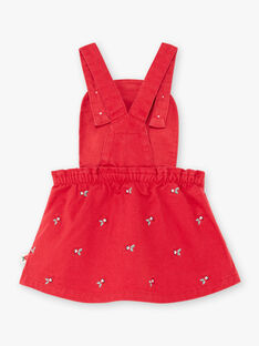 Red strapless dress with poppy embroidery for baby girl BAAXELLE / 21H1BF11ROBF505