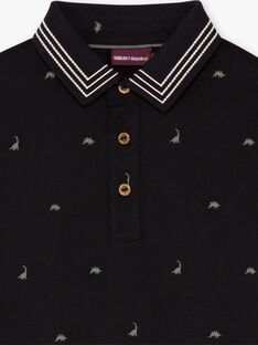 Boy's black polo shirt with dinosaur embroidery BAPOLAGE / 21H3PG21POL090