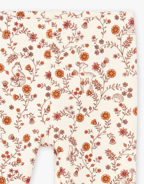 Baby girl's ecru floral print legging BAIDYLLE / 21H4BFJ1CAL001