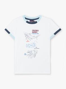 White T-shirt with sea animal motifs child boy ZINUAGE / 21E3PGT2TMC000