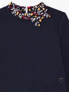 Girl's navy blue floral long sleeve dress BIGLETTE / 21H2PF51ROB070