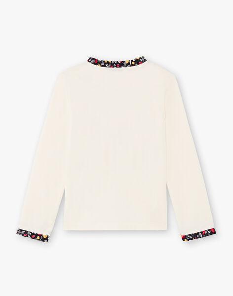 Girl's long sleeve ecru fancy print t-shirt BICHETTE / 21H2PF53TML001