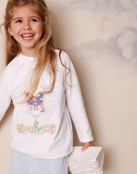 Ecru pyjamas with phosphorescent details for children and girls ZEPRINETTE / 21E5PF13PYJ001