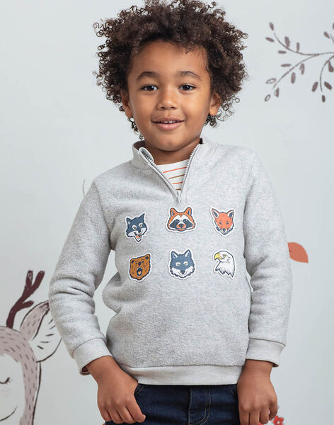 Boy's grey animal embroidery sweater BIAGE / 21H3PGJ1PULJ902