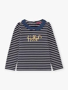 Girl's navy blue and white striped T-shirt BIMARETTE / 21H2PF52TML070