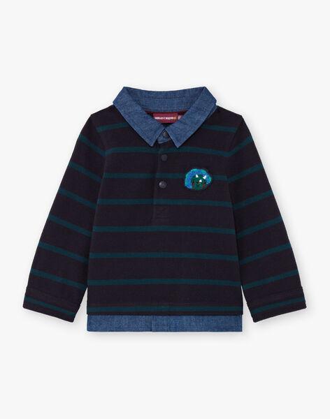 Baby boy long sleeve blue striped polo shirt BAJORGE / 21H1BG91POL715