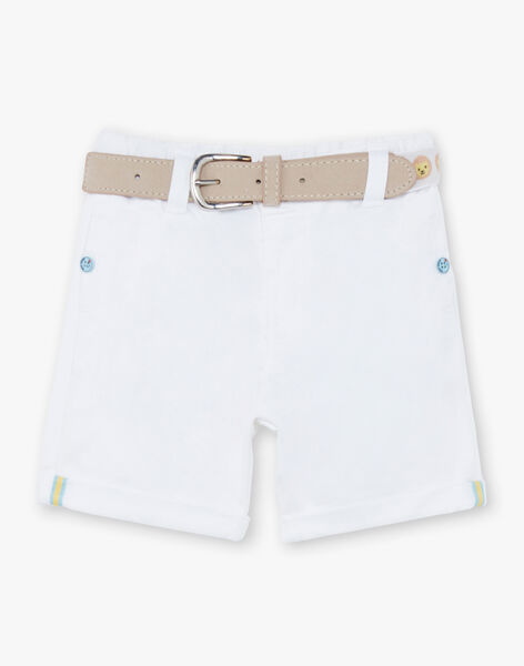 Baby Boy's White Bermuda Shorts with Taupe Belt TYHABIB / 20E1BGZ1BER000