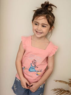 Pink tank top with fancy print child girl ZUTOLETTE / 21E2PFT1TMCD305