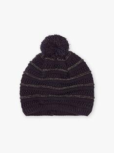 Girl's navy blue knitted hat BLOPIETTE / 21H4PFC1BON070