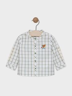 Baby boys' ecru shirt with yellow and teal check pattern SABARTH / 19H1BG21CHM001