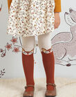Beige and brown tights with deer motifs child girl BUCHUETTE / 21H4PFJ1COL001