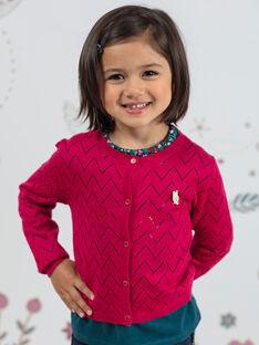 Child girl pink long sleeve cardigan BOLILETTE / 21H2PF91CAR310