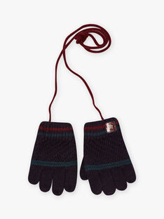 Fancy knitted gloves blue petrol boy BAGANTAGE / 21H4PGD1GAN715