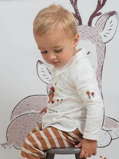 Boy's white long sleeve polo with collar BALIAM / 21H1BGJ1POL001