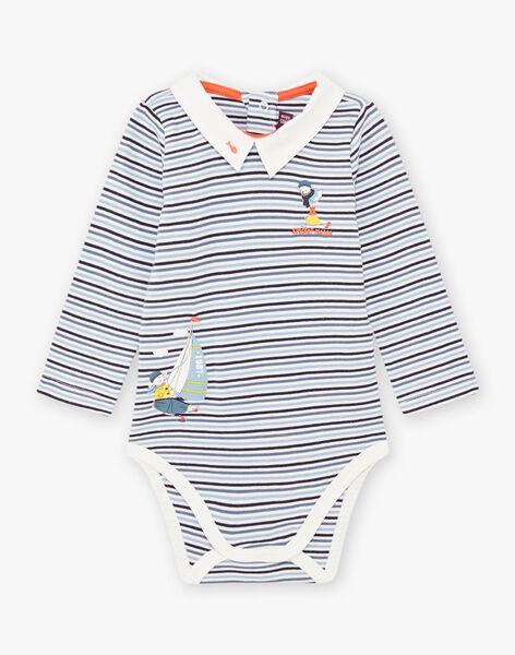 Baby boy's striped bodysuit with sailboat and bird motifs BANASH / 21H1BGL1BODC230