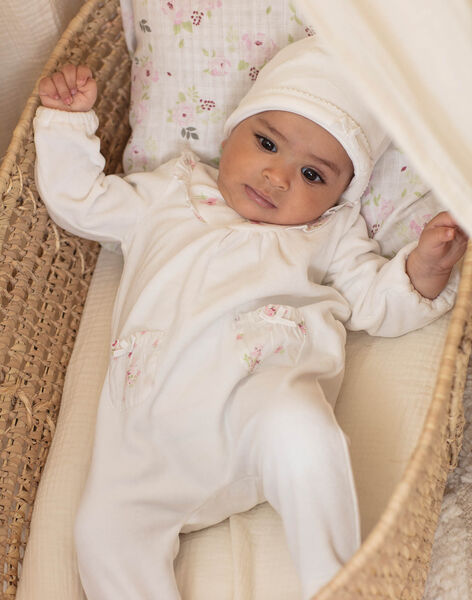 Ecru sleep suit with lace details and bonnet for girls BONIFACE B / 21H0NF42GRE001