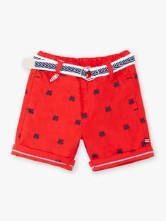 Embroidered red Bermuda shorts and baby boy belt ZAOSCAR / 21E1BGT1BERF524