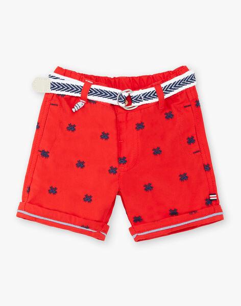 Embroidered red Bermuda shorts and baby boy belt ZAOSCAR / 21E1BGT1BERF524