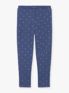 Girl's blue polka dot legging with rabbit print BYGOETTE / 21H4PFL1CAL715