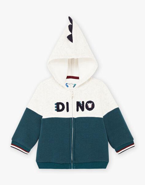 Baby boy two-tone dinosaur hoodie BAJOSSELYN / 21H1BG91GILA013