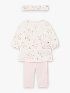 Dress and headband printed with flowers and pink leggings birth girl BOUTAINA / 21H0CF43ENS001