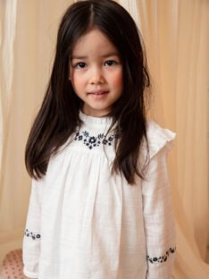 Girl's ecru long sleeve blouse with floral embroidery BECHEMETTE / 21H2PF21CHE001