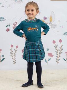 Long sleeve blue duck t-shirt with flower print collar for girls BOLORETTE / 21H2PF92TML714