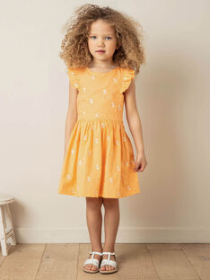 Orange and white dress with lemon print for children girls ZIBRODETTE / 21E2PFO1CHS406