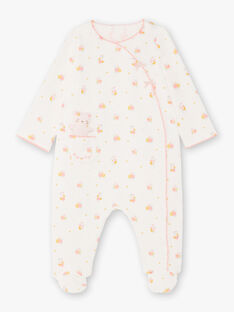 Girl's yellow, pink and ecru sleep suit with plush BEBELLE / 21H5BF64GRE001