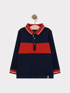 Short-sleeved POLO shirt - Navy and red colour scheme SAPAGE / 19H3PG31POL713