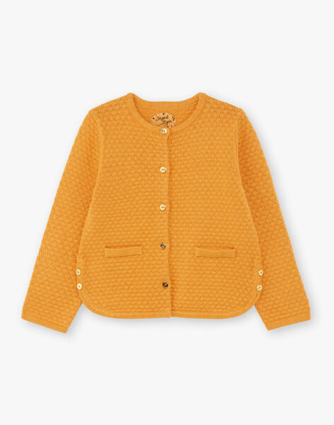 Girl's mustard knitted cardigan BRODIGETTE1 / 21H2PFB3CARB106