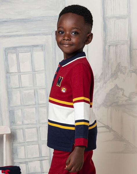 Boy's red and ecru striped polo shirt BECIAGE / 21H3PG51POL503