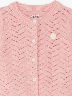 Baby girl pink knitted cardigan BAINES / 21H1BFJ2CARD314