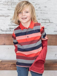 Boy's red and navy blue striped polo shirt BUXAGE2 / 21H3PGB3POL050
