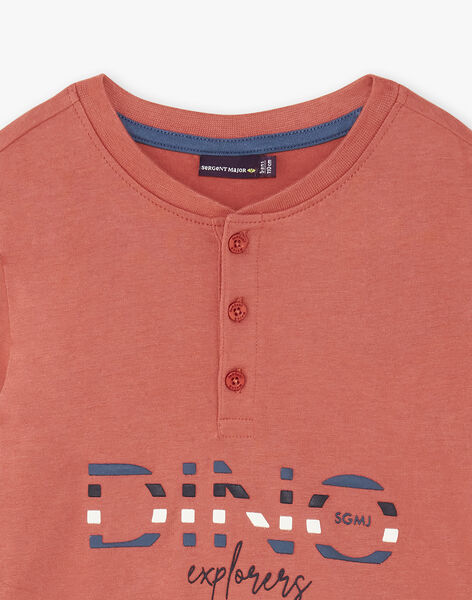 Brick red long-sleeved t-shirt for children and boys ZECRIAGE / 21E3PGB1TML506