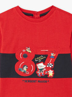 Baby boy's red long-sleeved T-shirt with fancy car design BAPEPITO / 21H1BGM1TMLF528