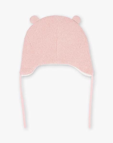 Baby girl pink beanie with teddy bear ears BINAOMIE / 21H4BFC3BOND329