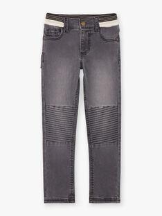 Baby boy black yoke jeans with elastic waistband BASOTAGE / 21H3PG21JEA090