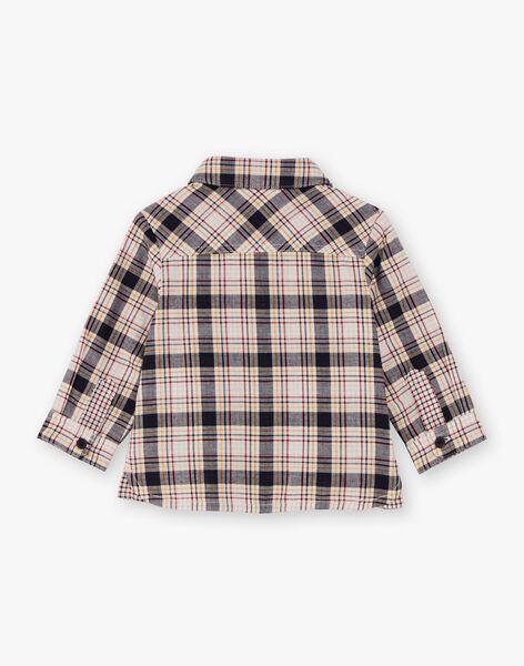 Baby boy's navy and ecru checkered shirt BAFOU / 21H1BG51CHM070