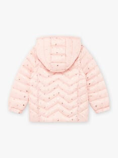 Light pink printed quilted down jacket and bunny bag child girl BRODOUNETTE 1 / 21H2PFG1DTV321