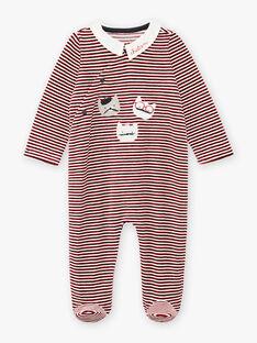 Baby boy's red striped velour romper with kitten print BECOLIN / 21H5BG73GRE502