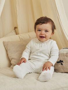 Off white velvet romper and bonnet for mixed birth BOURGEOIS B / 21H0NMK2GRE001