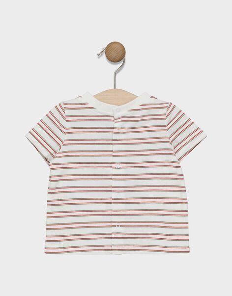 Baby boys' short-sleeved, striped T-shirt with print design on chest SADENVER / 19H1BG31TMC000