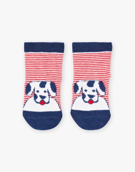 Baby boy striped socks with dog print BABASTIEN / 21H4BG11SOQ720