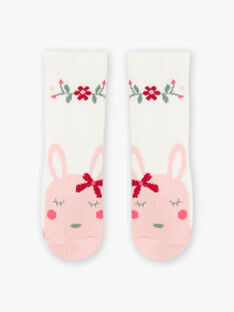 Baby girl's ecru flower and rabbit socks BAGIGI / 21H4BF91SOQ001