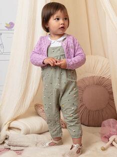 Baby girl's khaki overalls with floral print BACHARLENE / 21H1BF21SAL604